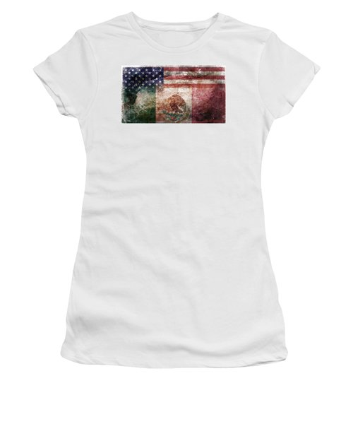 American Mexican Tattered Flag  Women's T-Shirt