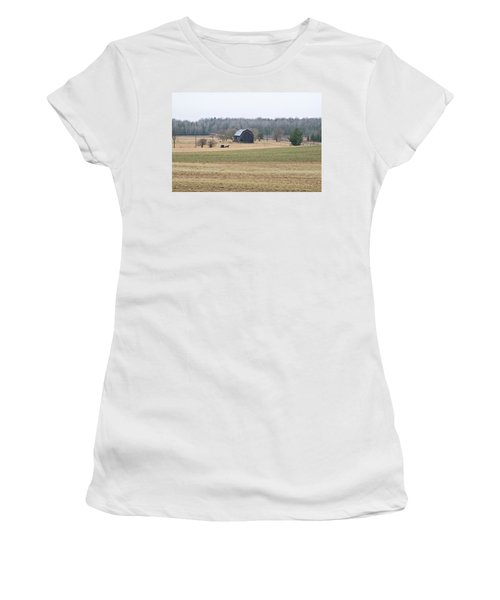 Women's T-Shirt (Junior Cut) featuring the photograph Amish Country 0754 by Michael Peychich