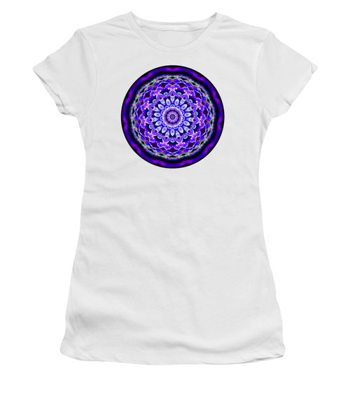 Women's T-Shirt featuring the digital art Ammersee Cropcircle Lightmandala Morph by Robert Thalmeier