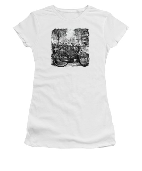 Amsterdam Bicycle Black And White Women's T-Shirt