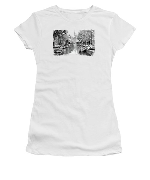 Amsterdam Canal 2 Black And White Women's T-Shirt (Junior Cut) by Marian Voicu