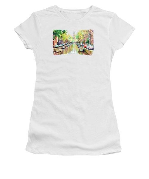 Amsterdam Canal 2 Women's T-Shirt (Junior Cut) by Marian Voicu