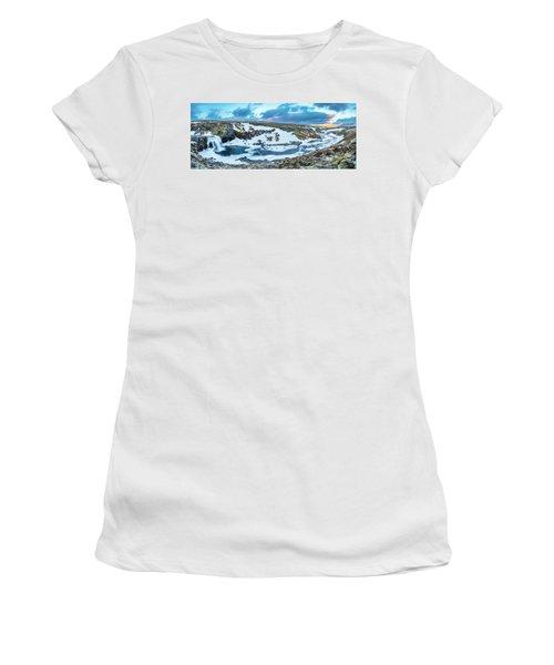 An Icy Waterfall Panorama During Sunrise In Iceland Women's T-Shirt (Junior Cut) by Joe Belanger