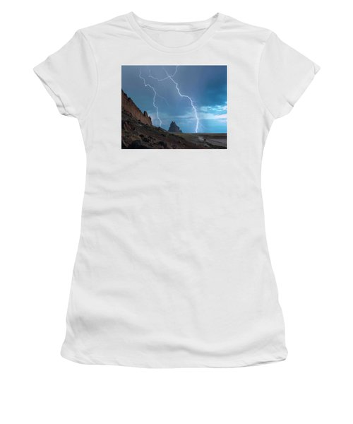 An Suv Races Away From A Thunderstorm At Shiprock, New Mexico Women's T-Shirt