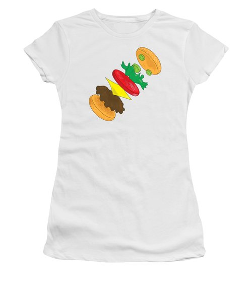 Anatomy Of Cheeseburger Women's T-Shirt (Athletic Fit)