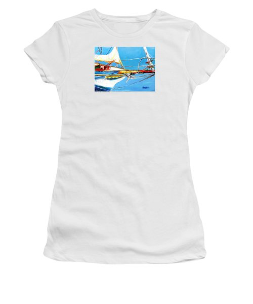Women's T-Shirt (Junior Cut) featuring the painting Anchored 2 by Marti Green