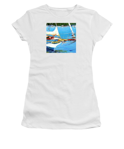 Women's T-Shirt (Junior Cut) featuring the painting Anchored by Marti Green