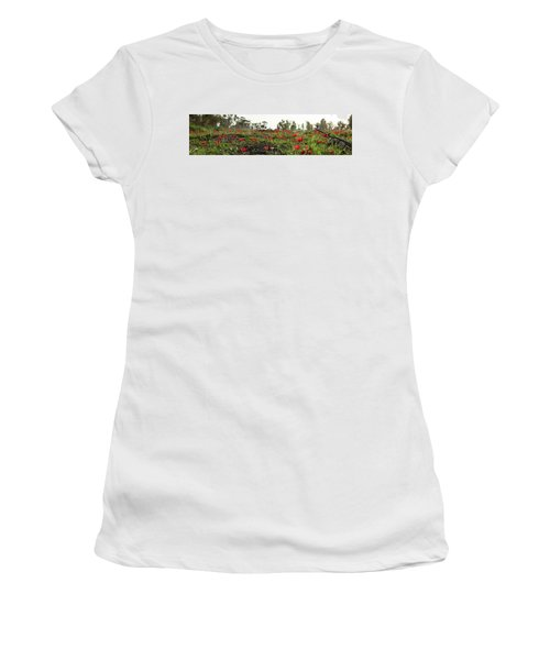 Women's T-Shirt (Junior Cut) featuring the photograph Anemones Forest Panorama by Yoel Koskas