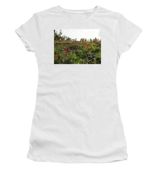 Women's T-Shirt (Junior Cut) featuring the photograph Anemones Forest by Yoel Koskas