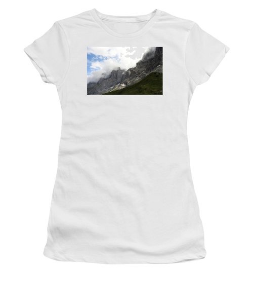 Angel Horns In The Clouds Women's T-Shirt (Junior Cut) by Ernst Dittmar