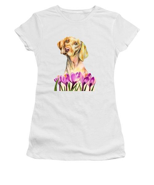 Angelic - Vizsla Dog And Crocus Watercolor Painting Women's T-Shirt