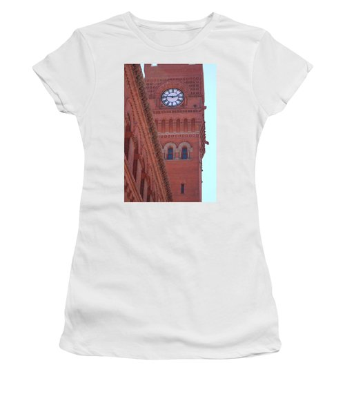 Angled View Of Clocktower At Dearborn Station Chicago Women's T-Shirt (Athletic Fit)