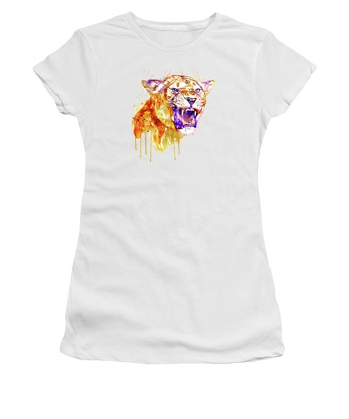 Women's T-Shirt (Junior Cut) featuring the mixed media Angry Lioness by Marian Voicu