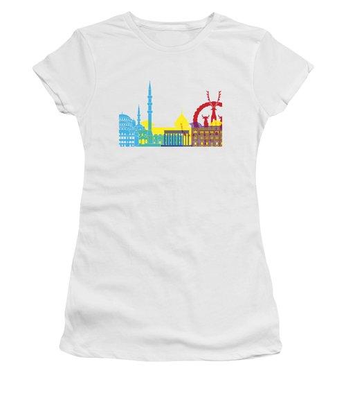 Ankara Skyline Pop Women's T-Shirt (Athletic Fit)