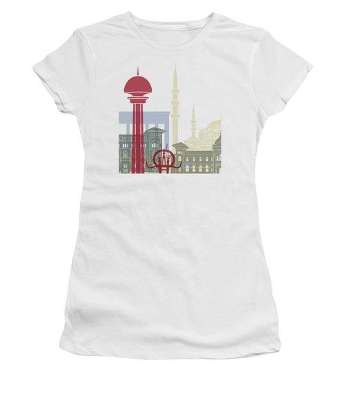 Ankara Skyline Poster Women's T-Shirt (Athletic Fit)