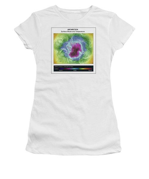 Antartica Surface Winds And Temps Women's T-Shirt (Junior Cut) by Geraldine Alexander