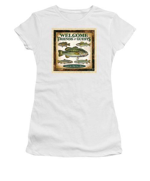 Antique Lure Fish Panel Three Women's T-Shirt (Athletic Fit)