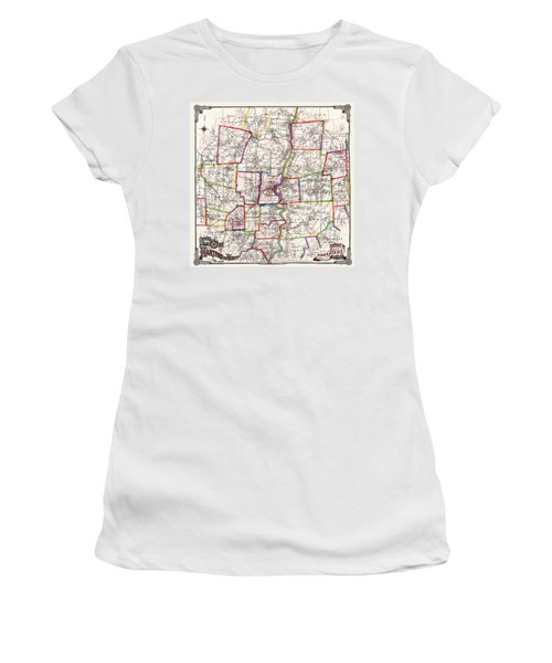 Horse Carriage Era Driving Map Of Hartford Connecticut Vicinity 1884 Women's T-Shirt (Junior Cut) by Phil Cardamone