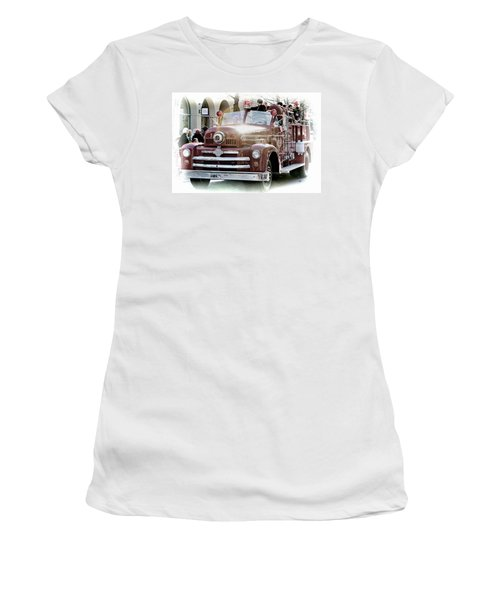 Antique Santa Cruz Fire Truck Women's T-Shirt (Athletic Fit)