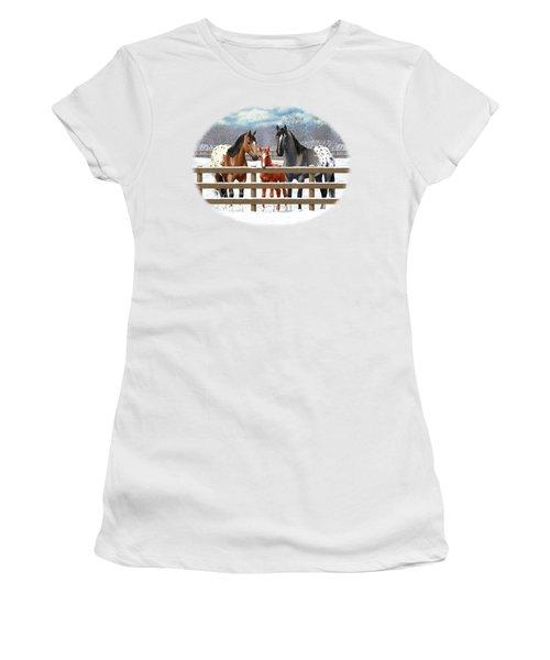 Appaloosa Horses In Winter Ranch Corral Women's T-Shirt