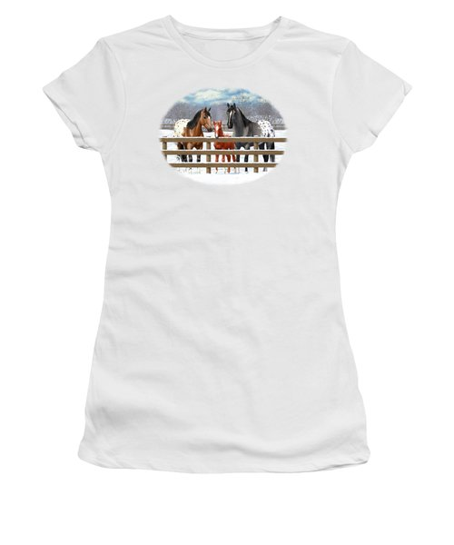 Appaloosa Horses In Winter Ranch Corral Women's T-Shirt