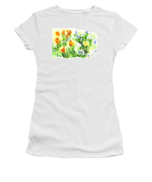 Women's T-Shirt (Junior Cut) featuring the painting April Flowers 2 by Kip DeVore