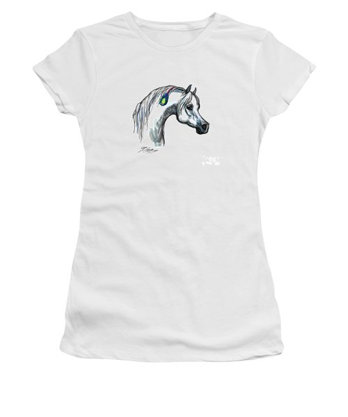 Arabian Peacock Feather Women's T-Shirt (Junior Cut) by Stacey Mayer