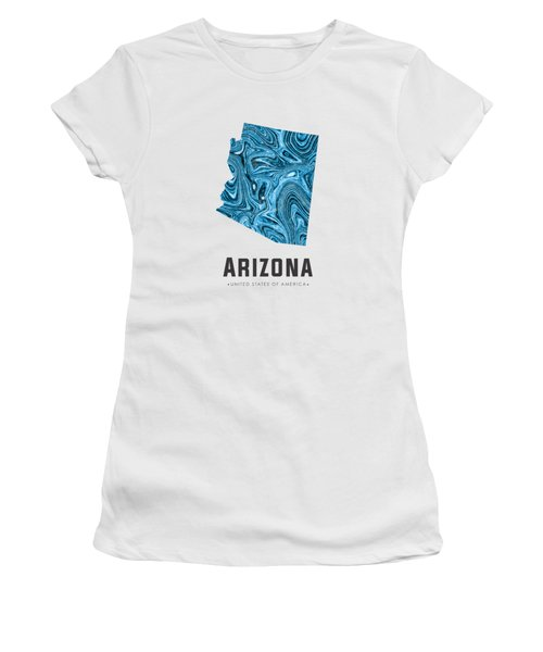 Arizona Map Art Abstract In Blue Women's T-Shirt