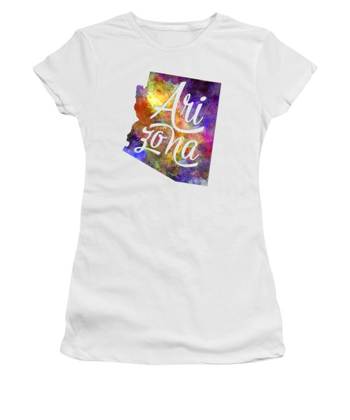 Arizona Us State In Watercolor Text Cut Out Women's T-Shirt