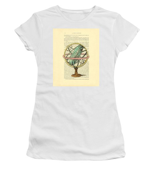 Armillary Sphere In Color Antique Illustration On Book Page Women's T-Shirt