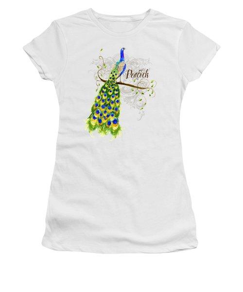 Art Nouveau Peacock W Swirl Tree Branch And Scrolls Women's T-Shirt (Junior Cut) by Audrey Jeanne Roberts