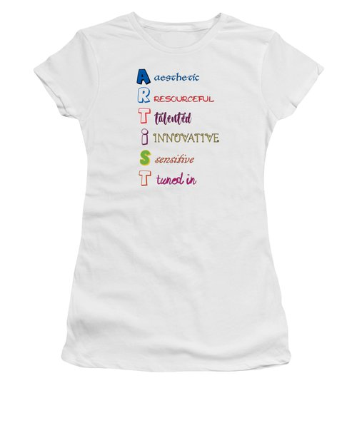 Women's T-Shirt featuring the digital art Artist Analogy by Judy Hall-Folde
