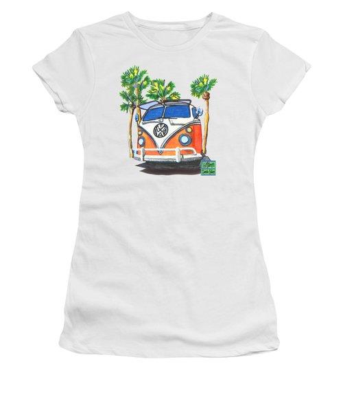 Volkswagen  Vw Bus Surfing Hippie Camper Women's T-Shirt