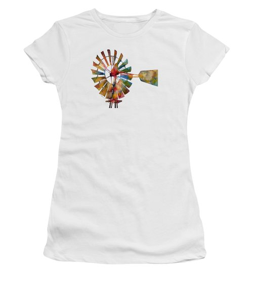 Women's T-Shirt (Junior Cut) featuring the painting Windmill by Hailey E Herrera