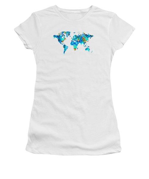 World Map 22 Art By Sharon Cummings Women's T-Shirt (Junior Cut) by Sharon Cummings