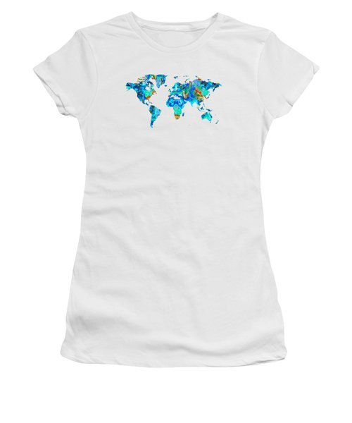 World Map 22 Art By Sharon Cummings Women's T-Shirt (Athletic Fit)