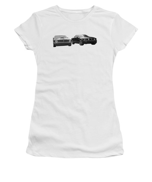 Mustang Buddies In Black And White Women's T-Shirt (Athletic Fit)