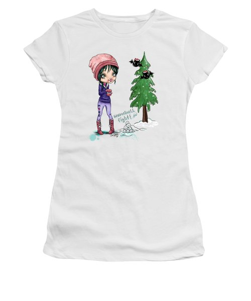 Women's T-Shirt (Junior Cut) featuring the painting Snowball Fight by Lizzy Love