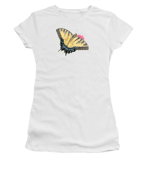 Swallowtail Butterfly And Zinnia- Transparent Backgroud Women's T-Shirt (Athletic Fit)