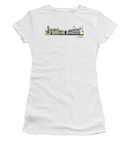 Lisbon Skyline Colored Women's T-Shirt