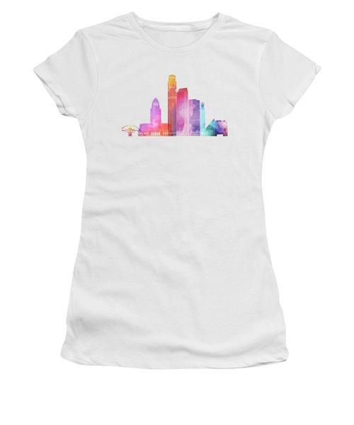 Los Angeles Landmarks Watercolor Poster Women's T-Shirt (Junior Cut) by Pablo Romero