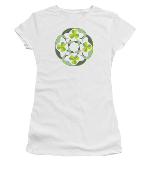 Women's T-Shirt featuring the digital art Celtic Inspired Shamrock Graphic by MM Anderson