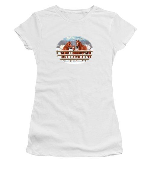 Chestnut Appaloosa Horses In Snow Women's T-Shirt