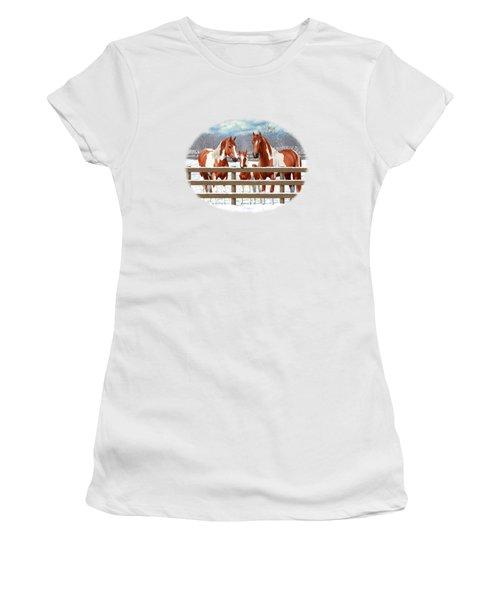 Chestnut Paint Horses In Snow Women's T-Shirt (Athletic Fit)