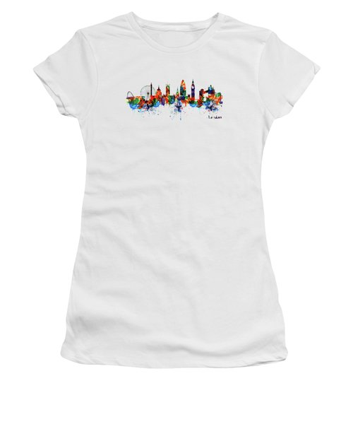 London Watercolor Skyline Silhouette Women's T-Shirt (Athletic Fit)
