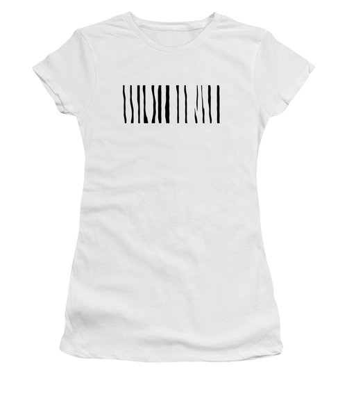 Organic No 12 Black And White Line Abstract Women's T-Shirt (Athletic Fit)