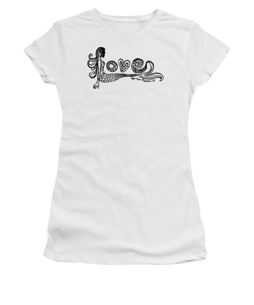 Women's T-Shirt featuring the drawing Mermaid Love by Monique Faella