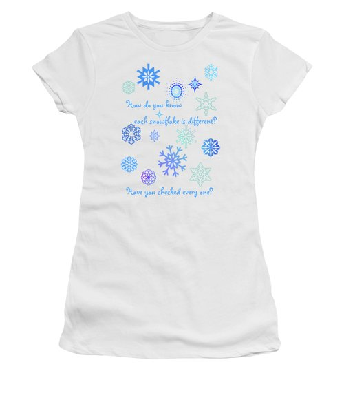 Snowflakes Women's T-Shirt (Junior Cut) by Methune Hively