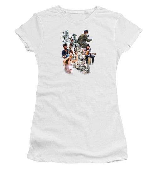 Asheville Buskers Collage Women's T-Shirt (Junior Cut) by John Haldane