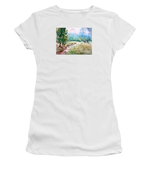 Aska Farm Creek Women's T-Shirt (Junior Cut) by Gretchen Allen